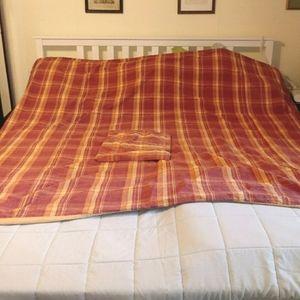 Pottery Barn plaid king sized duvet cover